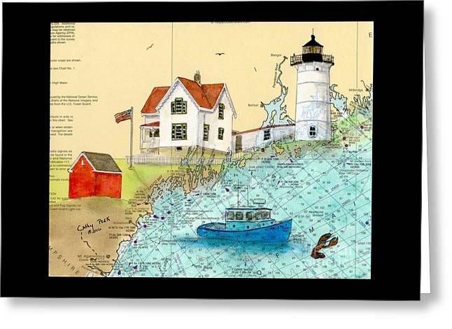 Cape Neddick Lighthouse Me Nautical Chart Map Art Cathy Peek Greeting Card by Cathy Peek