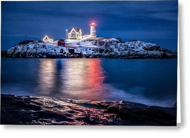 Cape Neddick Lighthouse Greeting Card by Robert Clifford