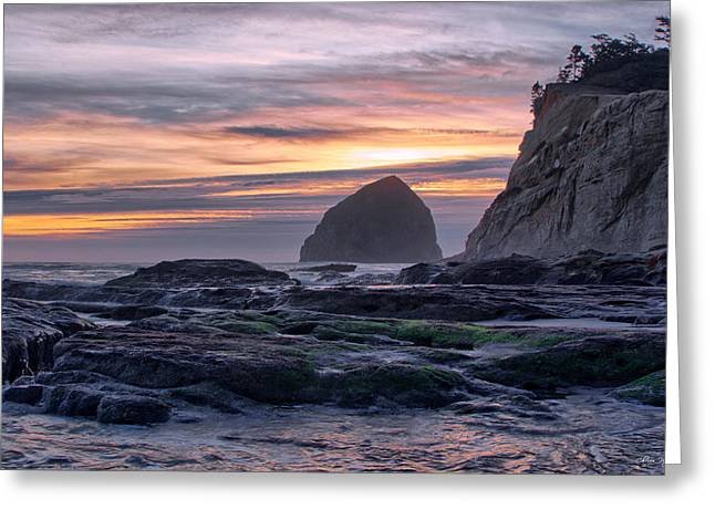 Cape Rocks And Surf Sunset Greeting Card