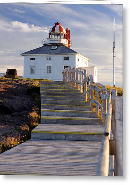 Cape Spear Lighthouse Boardwalk Greeting Card by Norman Pogson