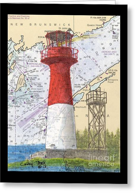 Cape Spencer Lighthouse Nb Canada Nautical Chart Map Art Greeting Card
