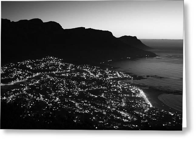 Cape Town Lights Greeting Card by Aidan Moran
