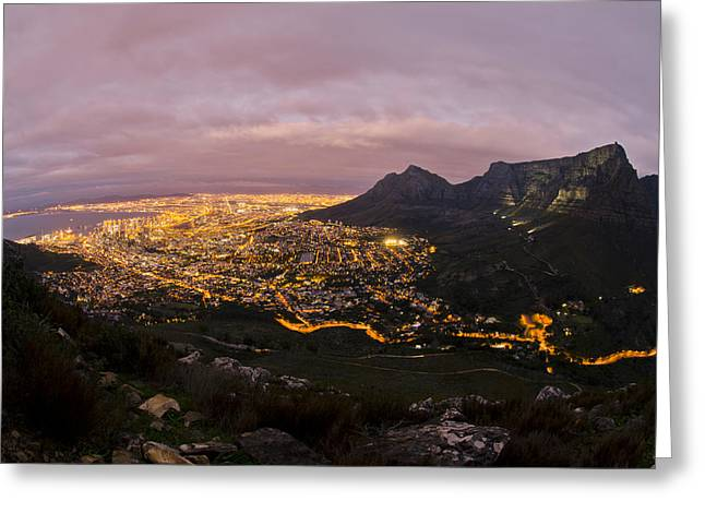 Cape Town Nights Greeting Card by Aaron Bedell