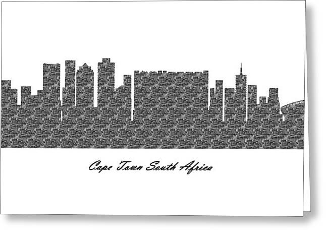 Cape Town South Africa 3d Bw Stone Wall Skyline Greeting Card