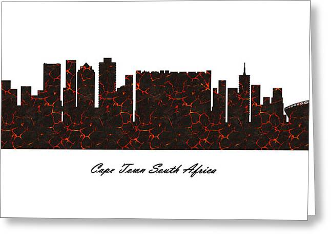 Cape Town South Africa Molten Lava Skyline Greeting Card
