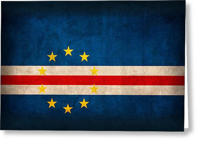 Cape Verde Flag Vintage Distressed Finish Greeting Card by Design Turnpike