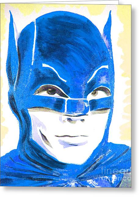 Caped Crusader Blue Greeting Card by Ronn Greer