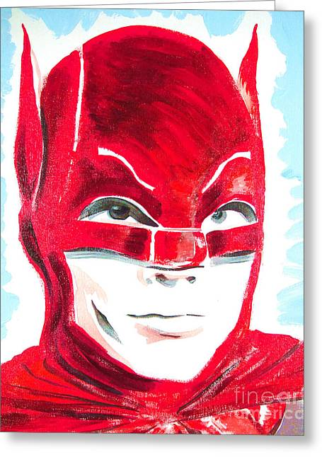 Caped Crusader Red Greeting Card by Ronn Greer