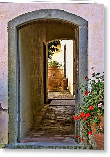 Capezzana Doorway Greeting Card by Gej Jones