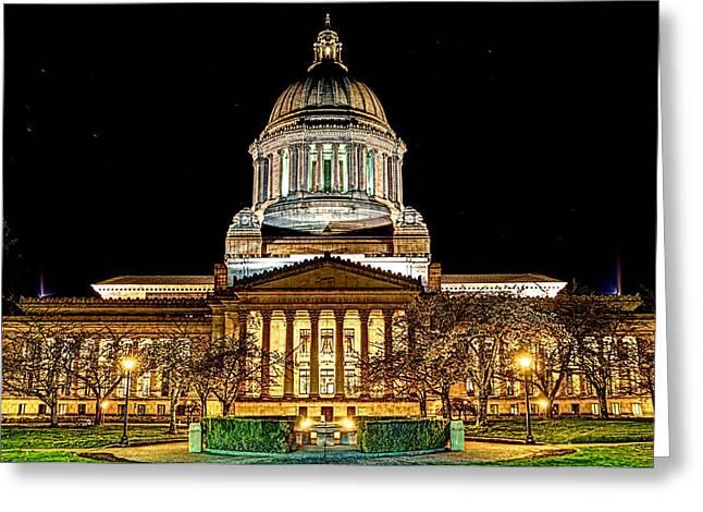 Capitol At Night Greeting Card by David Stine