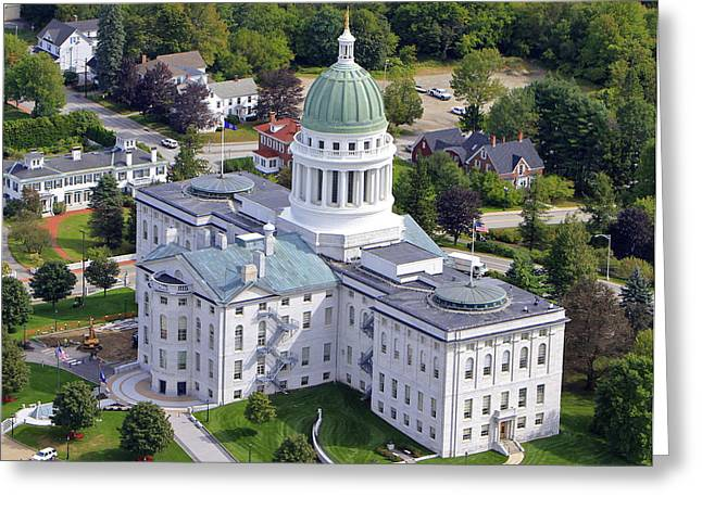 Capitol Building, Augusta Greeting Card by Dave Cleaveland