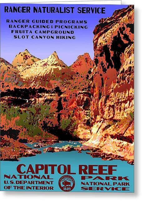 Capitol Reef National Park Vintage Poster Greeting Card by Eric Glaser