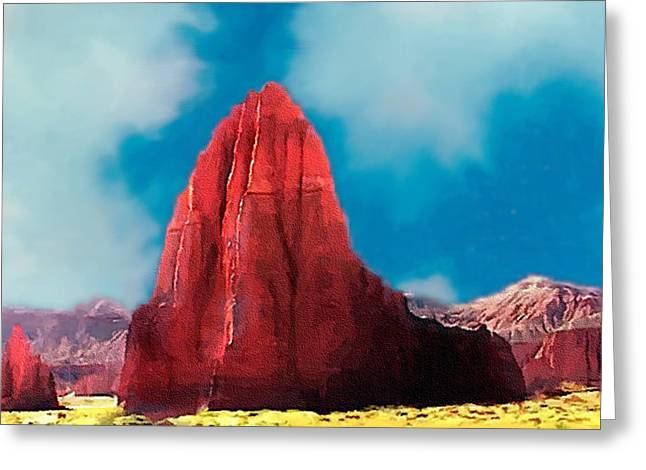Capitol Reef Temple Of The Sun Painting Forsale Greeting Card