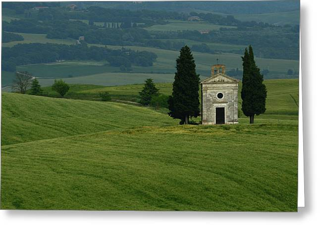 Cappella Di Vitaleta In Tuscany Field Greeting Card by Raul Touzon