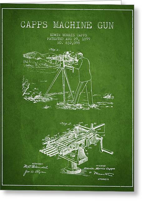 Capps Machine Gun Patent Drawing From 1899 - Green Greeting Card by Aged Pixel
