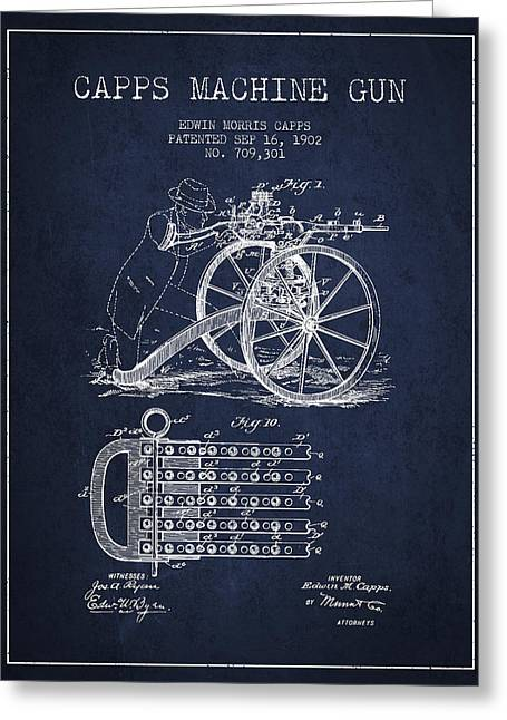 Capps Machine Gun Patent Drawing From 1902 - Navy Blue Greeting Card by Aged Pixel