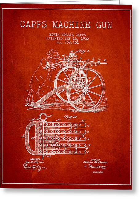 Capps Machine Gun Patent Drawing From 1902 - Red Greeting Card by Aged Pixel