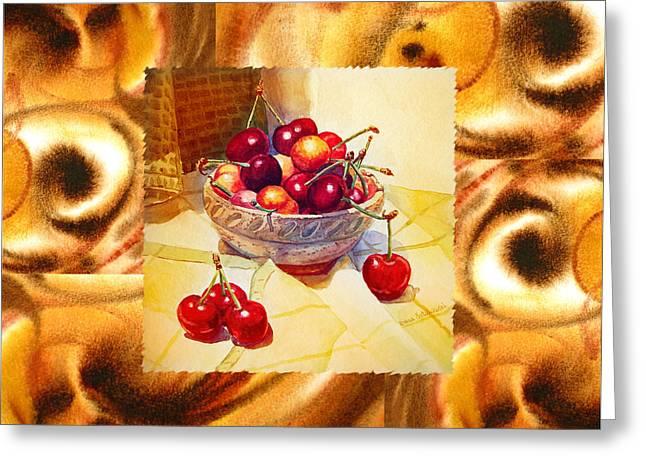 Cappuccino Abstract Collage Cherries Greeting Card by Irina Sztukowski