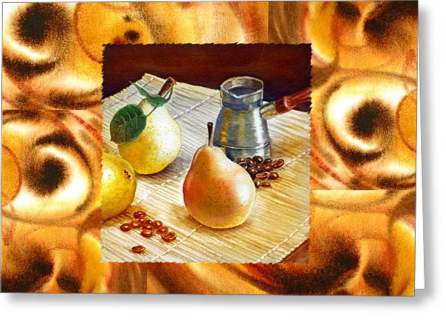 Cappuccino Abstract Collage Pears Greeting Card by Irina Sztukowski