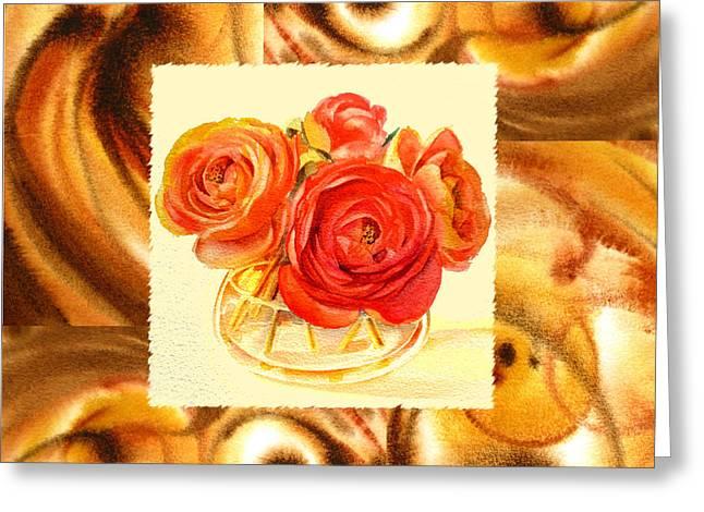 Cappuccino Abstract Collage Ranunculus   Greeting Card by Irina Sztukowski