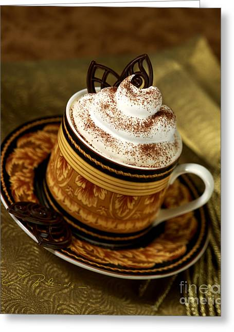 Cappuccino Coffee On Gold Greeting Card