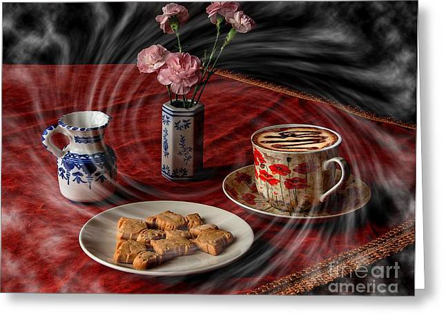 Cappuccino Vortex Greeting Card by Donald Davis