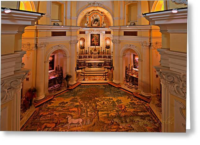 Capri San Michele Church Decorated Pavement Greeting Card by Enrico Pelos