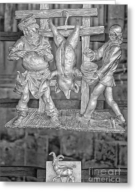 Capricorn Zodiac Sign - St Vitus Cathedral - Prague - Black And White Greeting Card by Ian Monk
