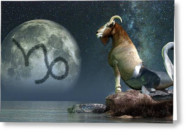 Capricorn Zodiac Symbol Greeting Card by Daniel Eskridge