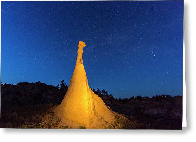 Caprock Lit By Flashlight Greeting Card by Chuck Haney