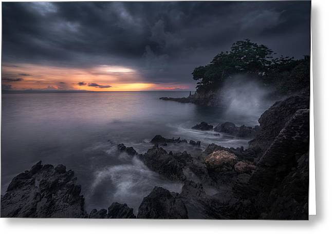 Caprusan Temple Sunset Greeting Card by Ade Rizal