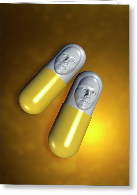 Capsules With Faces Greeting Card