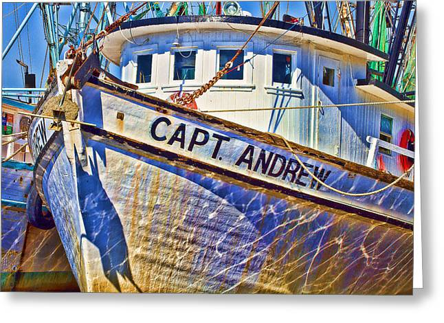Capt Andrew Shrimper Greeting Card by Bill Barber