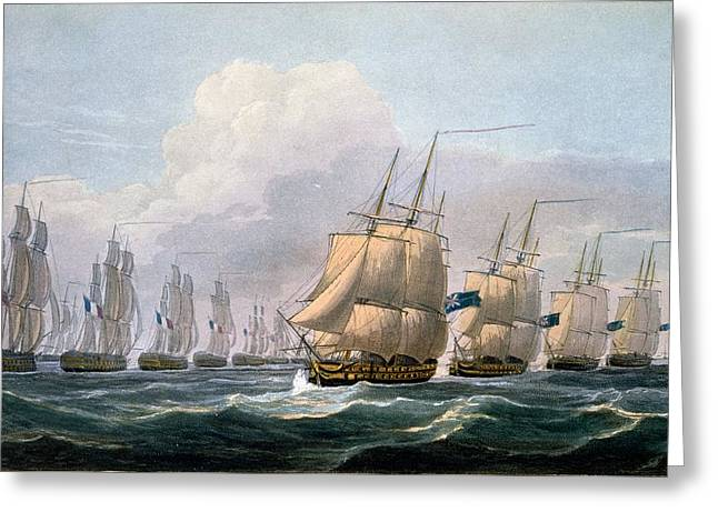 Hms Theseus Greeting Card by Frederick Christian Lewis