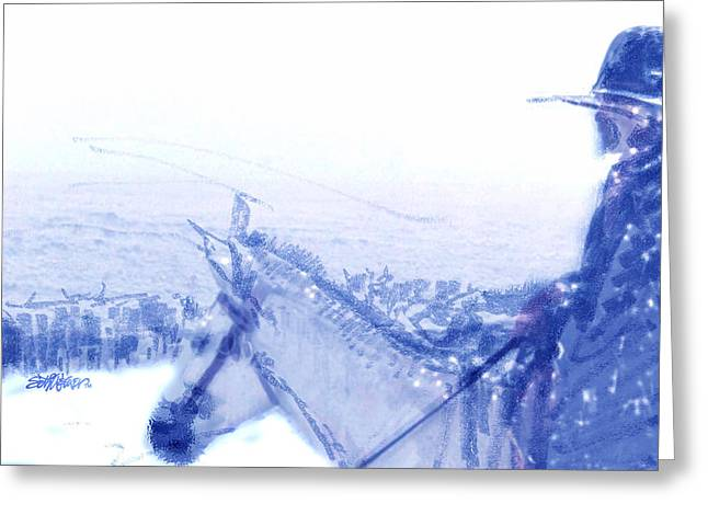 Capt. Call In A Snowstorm Greeting Card by Seth Weaver