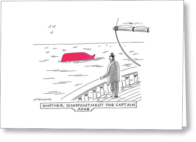 Captain Ahab Looks Out Into The Ocean At A Bright Greeting Card by Mick Stevens