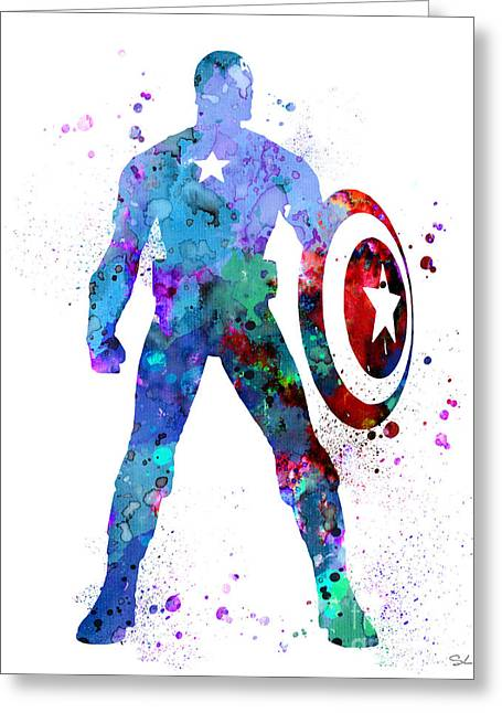 Captain America 2 Greeting Card by Watercolor Girl