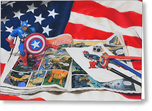 Captain America Greeting Card by Joanne Grant