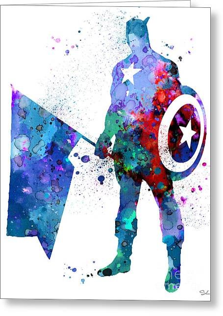 Captain America Greeting Card by Watercolor Girl