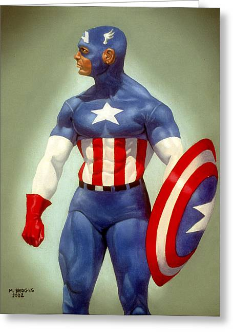 Captain America Greeting Card by Michael Bridges