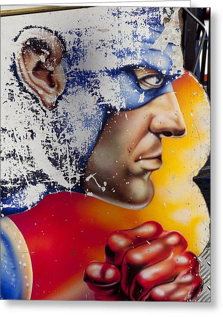 Captain America Greeting Card by Mike Greenslade