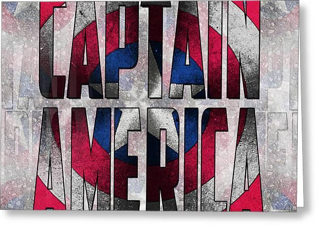 Captain America Shield Typography Design Greeting Card by Georgeta Blanaru