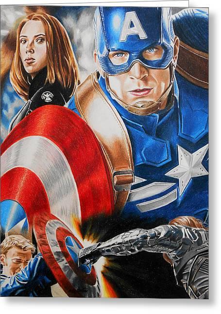 Captain America Winter Soldier Greeting Card by Joseph Christensen
