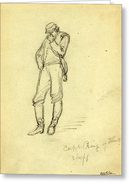 Captain Craig Of Flints Staff, 1863, Drawing On Cream Paper Greeting Card by Quint Lox
