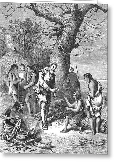 Captain John Smith, Powhatans Captive Greeting Card by Photo Researchers