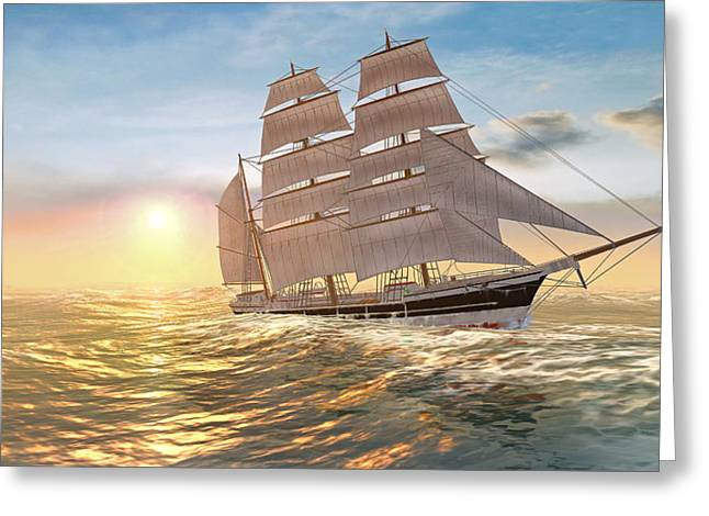 Captain Larry Paine Clippership Greeting Card