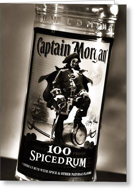 Captain Morgan Black And White Greeting Card by Janie Johnson
