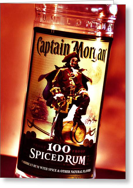 Captain Morgan Red Toned Greeting Card by Janie Johnson