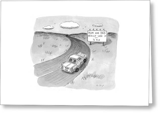 Captionless 'mom And Dad Really Lose It  -  1/4 Greeting Card by Roz Chast