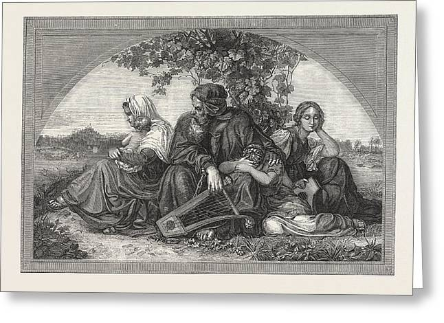 Captive Jews By The Waters Of Babylon Greeting Card by English School
